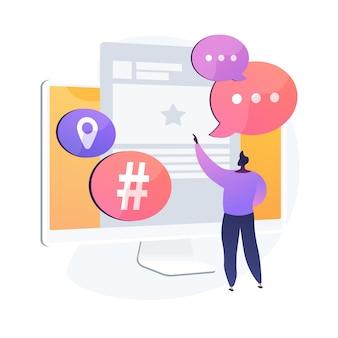 Użytkownik platformy mikroblogowania. komunikacja w mediach społecznościowych, narzędzie dla blogerów, udostępnianie krótkich wiadomości. mikroblogger udostępnianie postów, komentowanie, dyskusja. ilustracja wektorowa na białym tle koncepcja metafora
