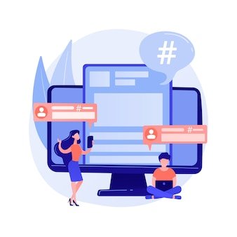 Użytkownik platformy mikroblogowania. komunikacja w mediach społecznościowych, narzędzie dla blogerów, udostępnianie krótkich wiadomości. mikroblogger udostępnianie postów, komentowanie, dyskusja.