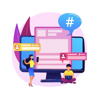 Użytkownik platformy mikroblogowania. komunikacja w mediach społecznościowych, narzędzie dla blogerów, udostępnianie krótkich wiadomości. mikroblogger udostępnianie postów, komentowanie, dyskusja