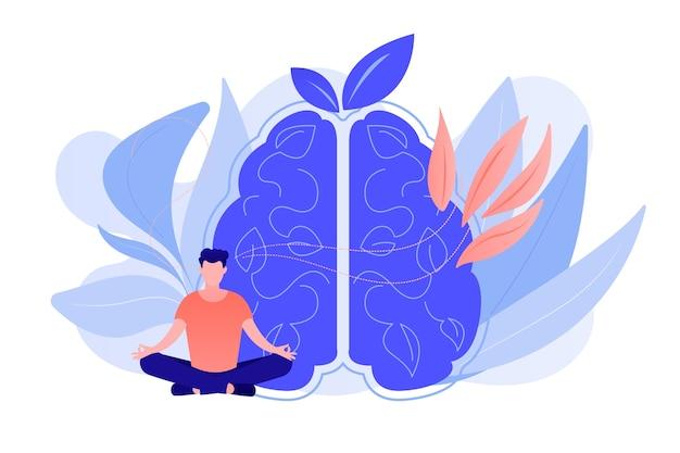Użytkownik praktykujący medytację uważności w pozycji lotosu. uważna medytacja, psychiczny spokój i samoświadomość, skupianie się i uwalnianie koncepcji stresu. ilustracja wektorowa na białym tle.