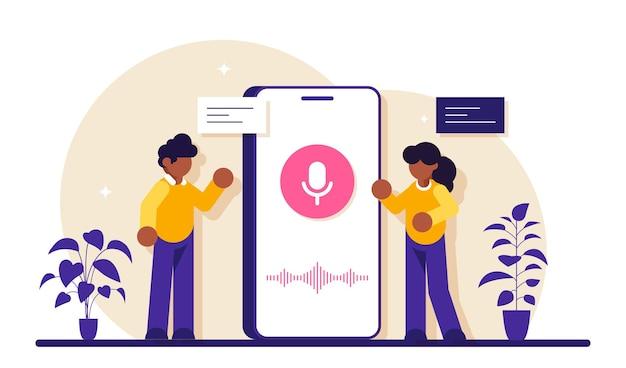 Użytkownik z asystentem głosowym lub inteligentnym głośnikiem sterowanym głosem. cyfrowi asystenci aktywowani głosem, centrum automatyki domowej, koncepcja internetu rzeczy.