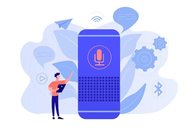 Użytkownik z inteligentnym głośnikiem lub asystentem głosowym sterowanym głosem. cyfrowi asystenci aktywowani głosem, centrum automatyki domowej, koncepcja internetu rzeczy. ilustracja wektorowa na białym tle.
