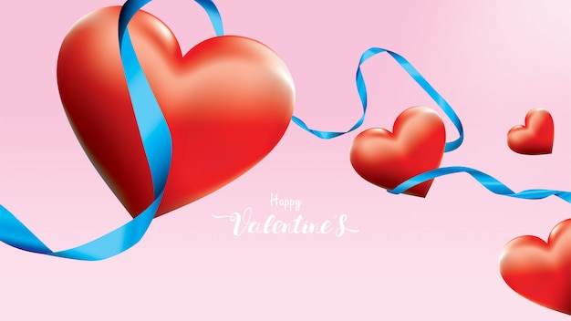 Valentine 3d kolorowe czerwone serca romantyczne kształt latające i pływające niebieskie wstążki jedwabne na różowym tle.