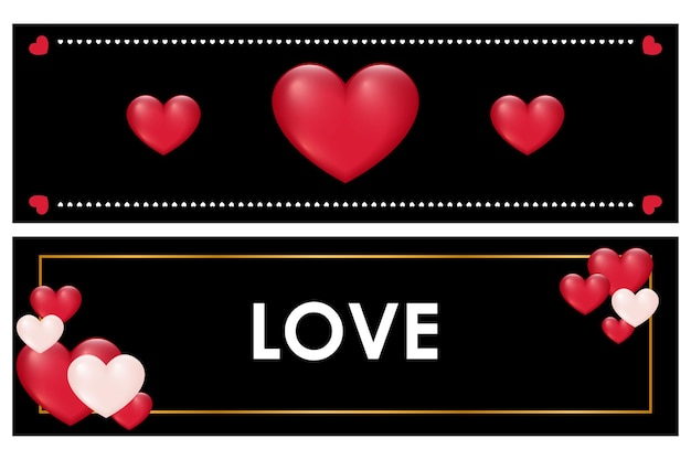 Valentine banner szablon z czerwonymi sercami