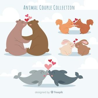 Valentine całuje kolekcję zwierząt para