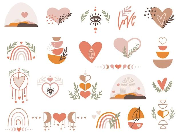 Valentine clipartów zestaw z sercami.