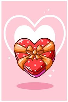 Valentine czekolada w kształcie serca, ilustracja kreskówka