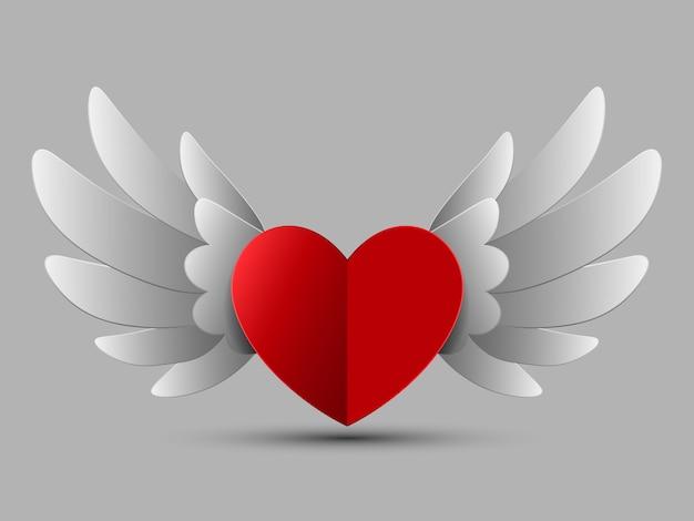 Valentine czerwone serce ze skrzydłami