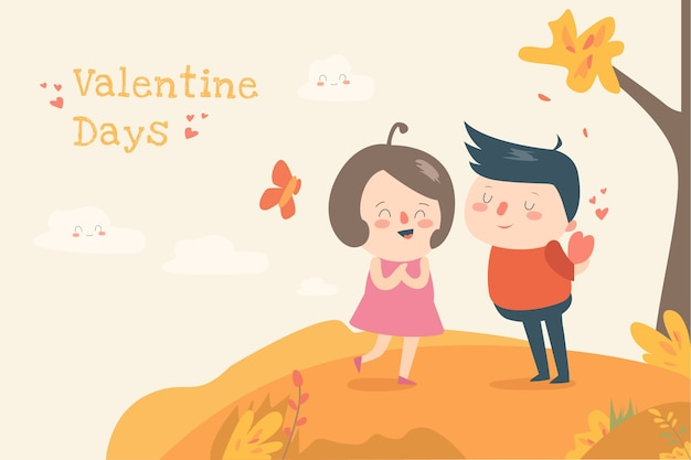 Valentine day flat ilustration cute child desin