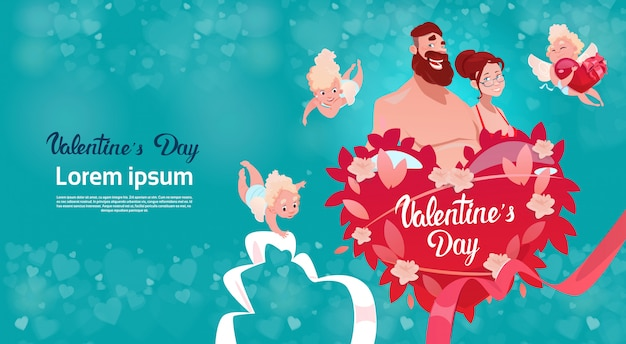 Valentine day gift card holiday lovers para love cupid heart shape
