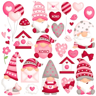 Valentine gnome vector set