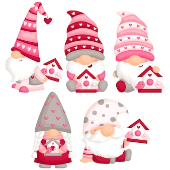 Valentine gnome with love bird house