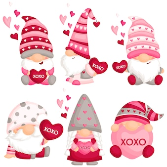 Valentine gnome with love pillow