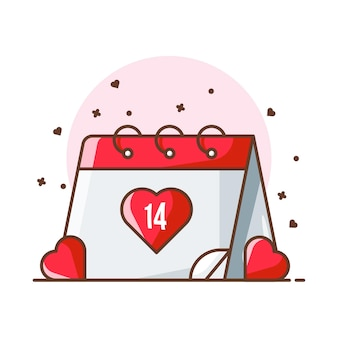 Valentine ilustracje ikony kalendarza. valentine ikona koncepcja biały na białym tle.