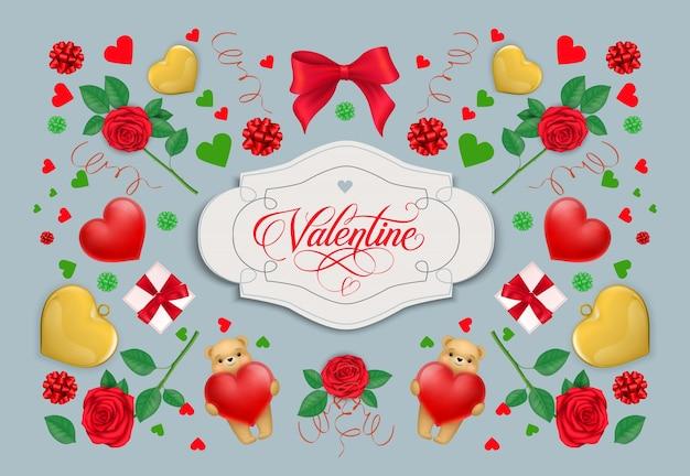Valentine kaligraficzna napis w ramce