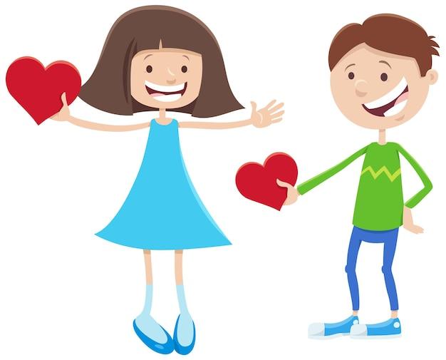 Valentine karty kreskówka z postaciami dziewczyny i chłopca