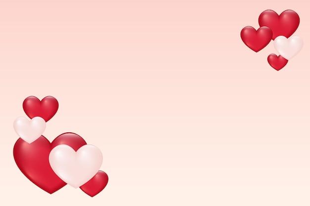 Valentine karty szablon z różowymi i czerwonymi sercami