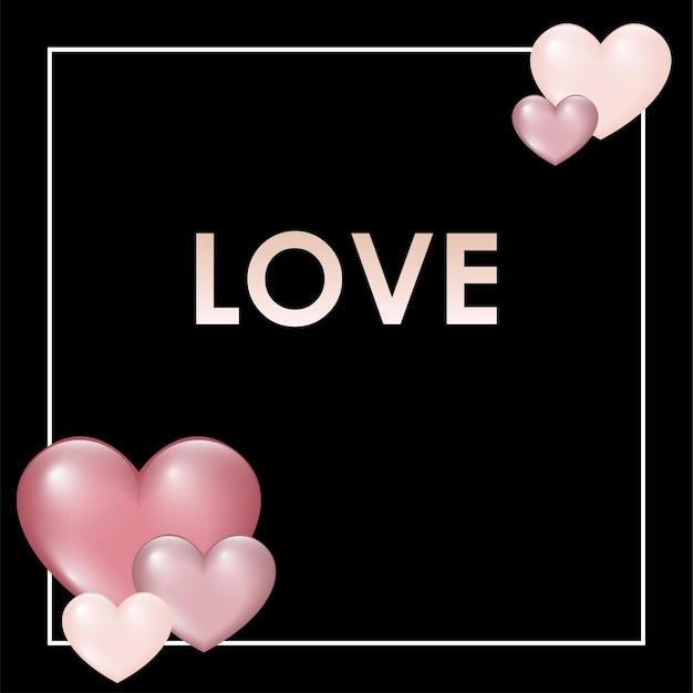 Valentine karty szablon z różowymi sercami