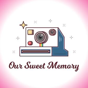 Valentine karty z ilustracji retro aparatu