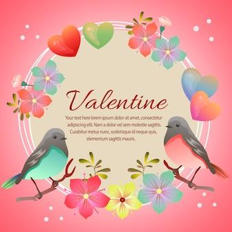 Valentine karty z miłości i para ptaków