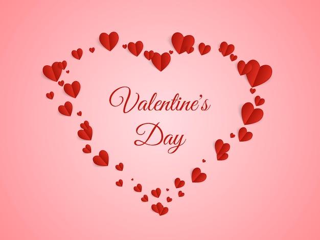 Valentine karty z papieru latające serca.