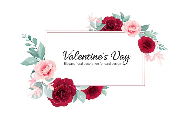 Valentine kwiatowy rama. ilustracja ozdoba kwiaty kwiatów róży bordo, liście, gałęzie