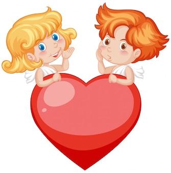 Valentine motyw z amorkami i czerwonym sercem