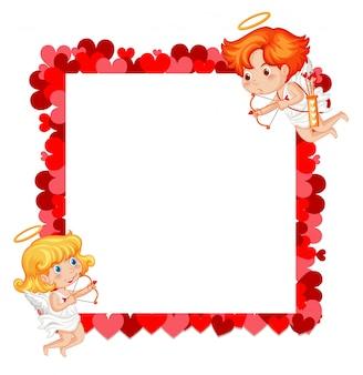 Valentine motyw z amorkami i czerwonymi sercami