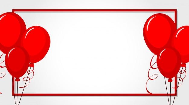 Valentine motyw z czerwonymi balonami wokół ramki