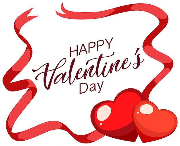 Valentine motyw z czerwonymi sercami i wstążkami