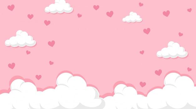 Valentine motyw z serca w różowym niebie