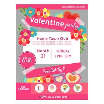 Valentine party plakat z kwiatów i miłości