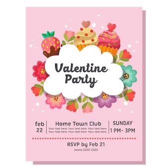 Valentine party zaproszenie karty ciasto słodycze