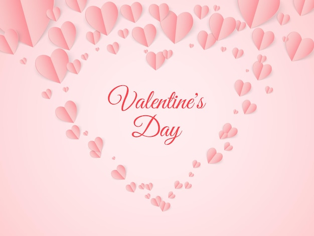 Valentine pocztówka z papieru latające serca na różowym tle