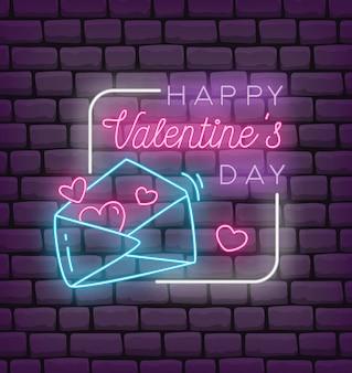 Valentine pozdrowienia w stylu neonowym ilustracji wektorowych stylu