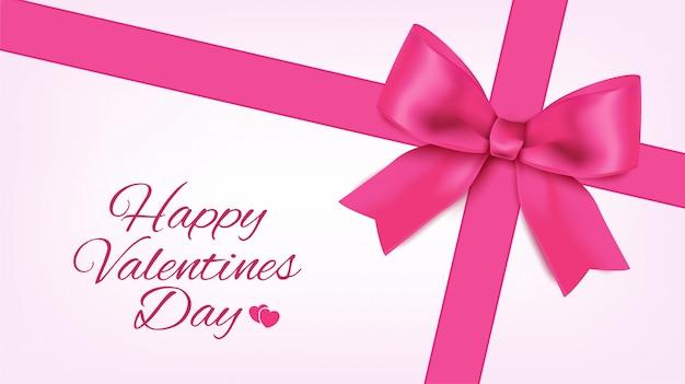 Valentine pozdrowienia z różową wstążką i łuk