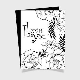 Valentine ręcznie rysowane kartki kwiatowe