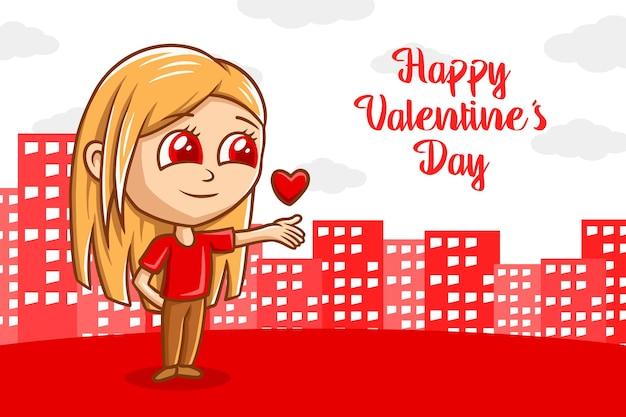 Valentine's banner ręcznie rysowane ilustracja kreskówka