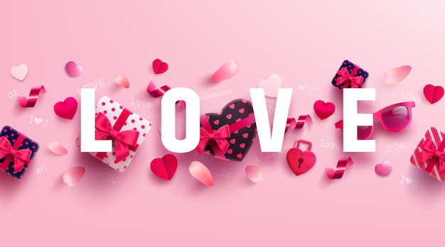 Valentine's day and love banner ze słodkim prezentem