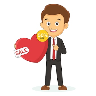 Valentine's day big sale banner with man, love, shopping