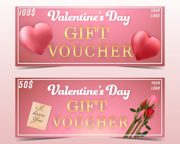 Valentine's day gift voucher banners set