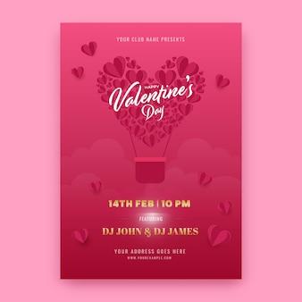 Valentine's Day Party Flyer Lub Szablon Projektu Ze Szczegółami Wydarzenia. Premium Wektorów