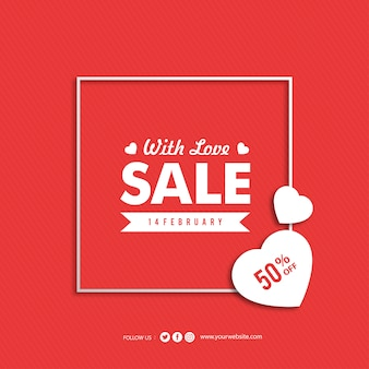 Valentine's day with love sale banner
