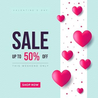 Valentine's with heart sale banner