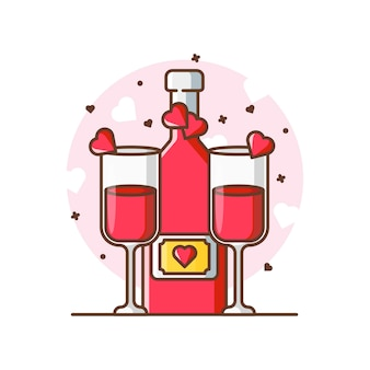 Valentine tosty piwa ikona ilustracje. valentine ikona koncepcja biały na białym tle.