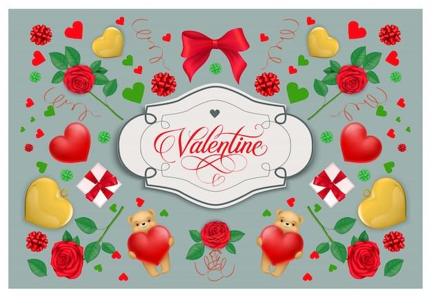 Valentine vintage napis w ramce