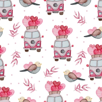 Valentine wzór z autobusem, ptaki.