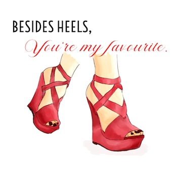 Valentines day fashion ilustration red outfit heels