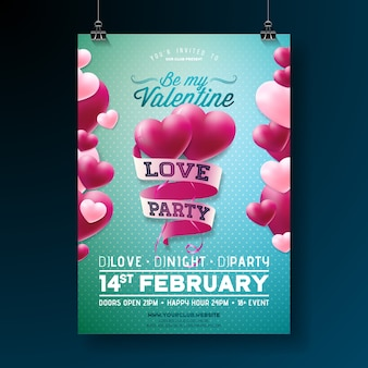 Valentines day love party flyer