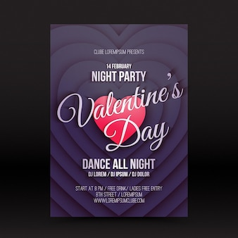 Valentines day night party flyer szablon projektu w stylu retro